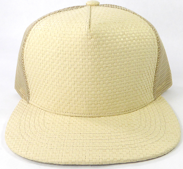 1b6137cd3 Wholesale Straw Mesh Trucker Snapback Hats - Beige - Khaki Mesh