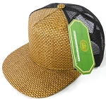 Wholesale Straw Mesh Trucker Snapback Hats - Brown - Black Mesh