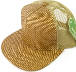 Wholesale Straw Mesh Trucker Snapback Hats - Brown - Khaki Mesh