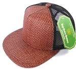 Wholesale Straw Mesh Trucker Snapback Hats - Burgundy - Black Mesh