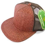 Wholesale Straw Mesh Trucker Snapback Hats - Burgundy - Brown Mesh