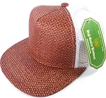 Wholesale Straw Mesh Trucker Snapback Hats - Burgundy - White Mesh