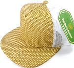 Wholesale Straw Mesh Trucker Snapback Hats - Natural Color - White Mesh