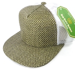 Wholesale Straw Mesh Trucker Snapback Hats - Olive - White Mesh