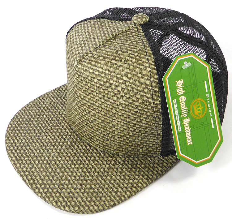 Wholesale Straw Mesh Trucker Snapback Hats - Olive - Black Mesh 81ceb28a1a6