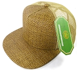 Wholesale Straw Mesh Trucker Snapback Hats - Original - Khaki Mesh