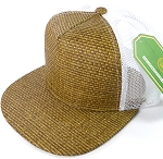 Wholesale Straw Mesh Trucker Snapback Hats - Original - White Mesh