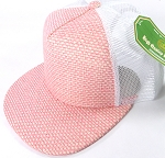 Wholesale Straw Mesh Trucker Snapback Hats - Pink - White Mesh