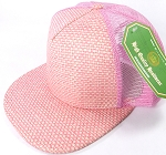 Wholesale Straw Mesh Trucker Snapback Hats - Pink - Pink Mesh