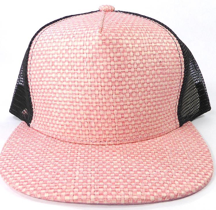 Wholesale Straw Mesh Trucker Snapback Hats - Pink - Black Mesh. Straw Mesh  Trucker Snapback a6bdbe7165af