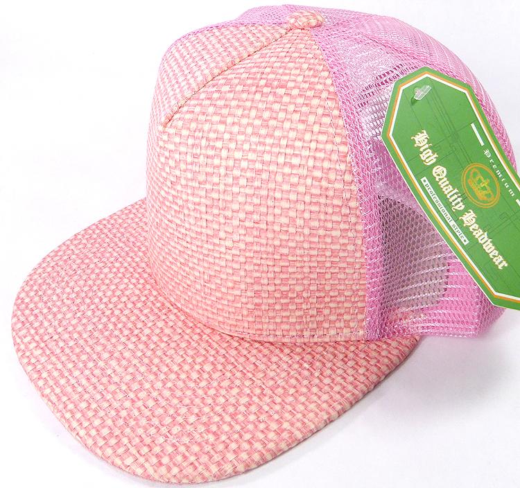 Wholesale Straw Mesh Trucker Snapback Hats - Pink - Pink Mesh. Straw Mesh  Trucker Snapback 548584fce15d