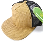 Wholesale Straw Mesh Trucker Snapback Hats - Solid Tan - Black Mesh