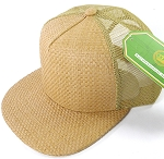 Wholesale Straw Mesh Trucker Snapback Hats - Solid Tan - Khaki Mesh