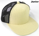 KIDS Junior Straw Trucker Snapback Hats - Beige - Black Mesh
