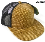 KIDS Junior Straw Trucker Snapback Hats - Brown - Black Mesh