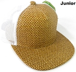 KIDS Junior Straw Trucker Snapback Hats - Brown - White Mesh
