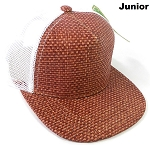 KIDS Junior Straw Trucker Snapback Hats - Burgundy - White Mesh