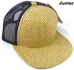 KIDS Junior Straw Trucker Snapback Hats - Natural Color - Black Mesh