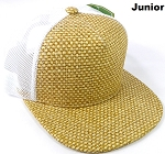 KIDS Junior Straw Trucker Snapback Hats - Natural Color - White Mesh