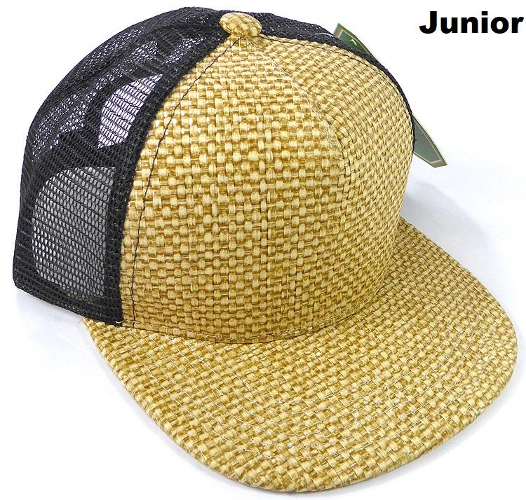 96cc3284348fb KIDS Junior Straw Trucker Snapback Hats - Natural Color - Black Mesh