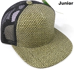 KIDS Junior Straw Trucker Snapback Hats - Olive - Black Mesh