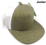 KIDS Junior Straw Trucker Snapback Hats - Olive - White Mesh