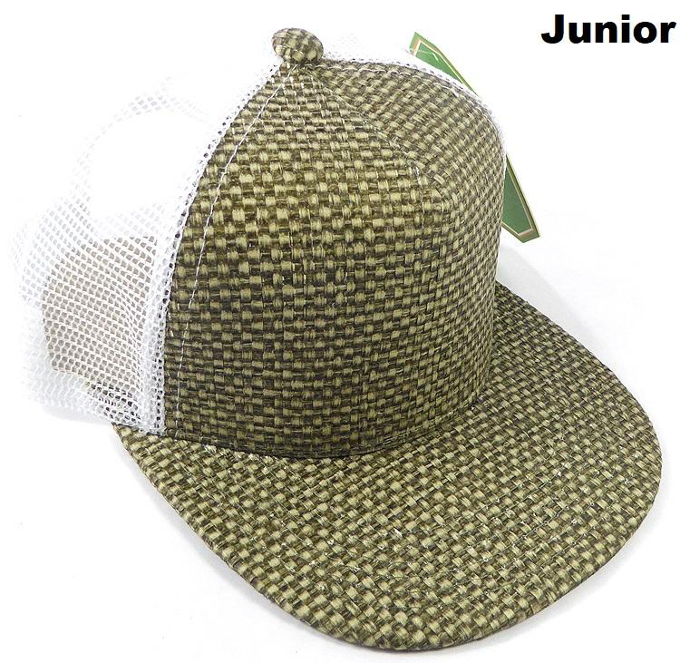 KIDS Junior Straw Trucker Snapback Hats - Olive - White Mesh bfa8c97f1ed