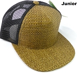 KIDS Junior Straw Trucker Snapback Hats - Original - Black Mesh