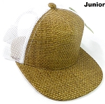 KIDS Junior Straw Trucker Snapback Hats - Original - White Mesh