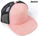 KIDS Junior Straw Trucker Snapback Hats - Pink - Black Mesh