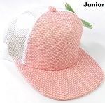 KIDS Junior Straw Trucker Snapback Hats - Pink - White Mesh
