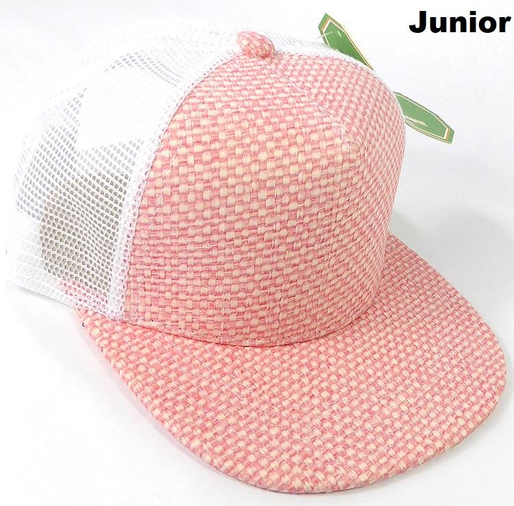 KIDS Junior Straw Trucker Snapback Hats - Pink - White Mesh f75574ff6698