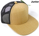 KIDS Junior Straw Trucker Snapback Hats - Solid Tan - Black Mesh