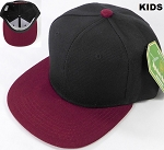 KIDS Jr. Plain Snap back Hats Wholesale - Two Tone - Black| Burgundy