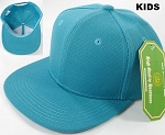 KIDS Jr. Plain Snap back Hats Wholesale - Solid - Turquoise