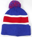 Wholesale Pom Pom Winter Beanies - Blue Red