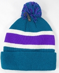 Wholesale Pom Pom Winter Beanies - Turquoise Purple