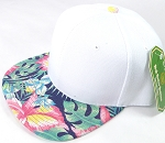 Wholesale White Crown Blank Snapback Cap - Hawaiian Hibiscus