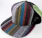 Wholesale Mesh Trucker 5 Panel Snapback Hats - Black Mesh - Quilt Stripes