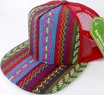 Wholesale Mesh Trucker 5 Panel Snapback Hats - Red Mesh - Aztec Stripes