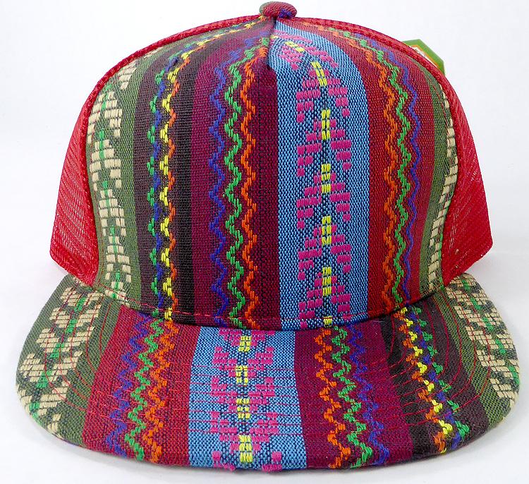 1f6d482bf Wholesale Mesh Trucker 5 Panel Snapback Hats - Red Mesh - Aztec Stripes