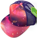 Wholesale Mesh Trucker 5 Panel Snapback Hats - Galaxy - Salmon Purple