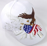 Wholesale USA Patriotic Eagle Baseball Cap - White
