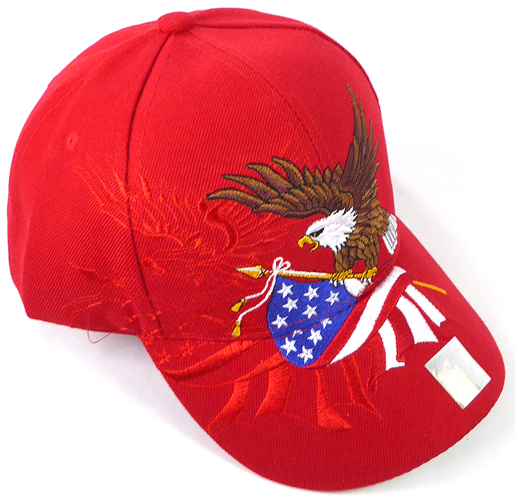 RED Eagle USA American Flag Baseball Cap With Leather Bill NEW
