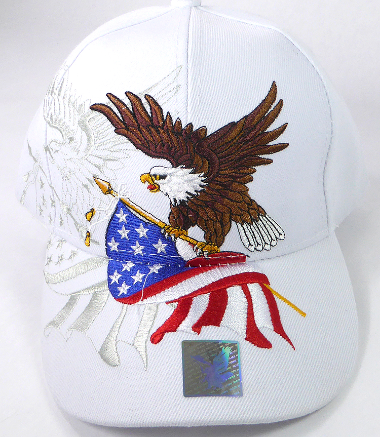 WHITE Eagle USA American Flag Mesh Baseball Cap With Leather Bill NEW