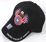 Wholesale USA Eagle Emblem Baseball Caps - Black