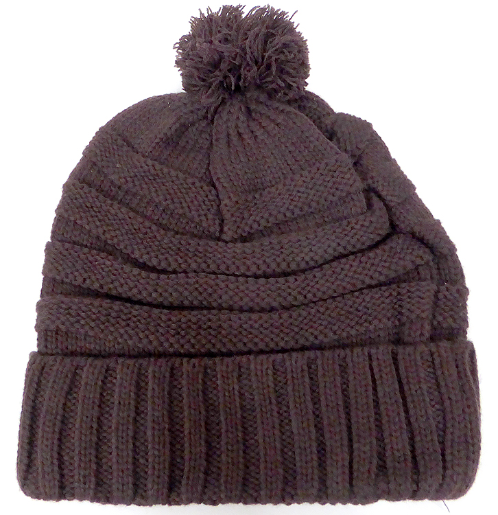 Home   BEANIES   WINTER HATS   Pom Pom Beanies Winter Hats Wholesale - Plain  Stripes - Brown 13b182b1581