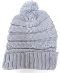 Pom Pom Beanies Winter Hats Wholesale - Plain Stripes - Grey