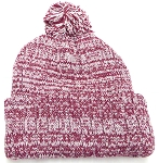 Knit Pom Pom Beanies Trendy Winter Hats - Mixed White and Burgundy
