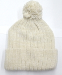 Knit Pom Pom Beanies Trendy Winter Hats - Mixed White and Beige